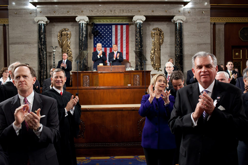 The scene at Mr. Obama's 2013 State Of The Union Address